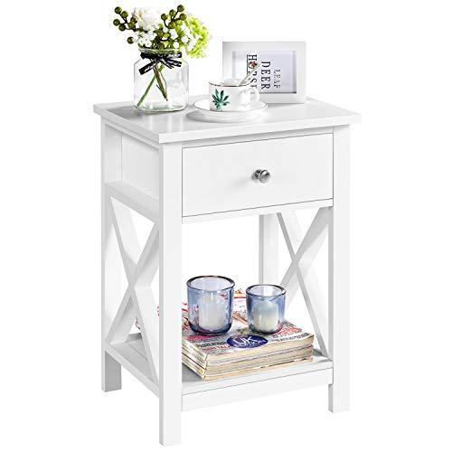 Yaheetech Table de Chevet en Bois Blanche Table de Nuit 40 x 30 x 55 cm avec 1 Tiroir 1 Étagère Ouverte Table d'Appoint pour Chambre Salon Blanc