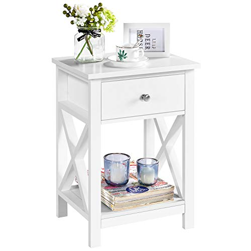 Yaheetech End Table X Shaped Nightstand Table Modern Storage Unit Bedside Tables Wooden Chest of Drawers Storage Cabinet and Shelves for Bedroom, White 40Lx30Wx55H