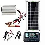 Doherty Panel Solar, Sistema de Panel Solar Monocristalino, Kit de Inversor Solar Completo Portátil 220V220W, Controlador de Cargador 10A