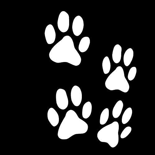 Finest Folia Set van 12 hondenpootjes, 6 x 6 cm, pootjes, hond, kat, stickers voor auto, motorfiets, muur, laptop, meubels wit glans