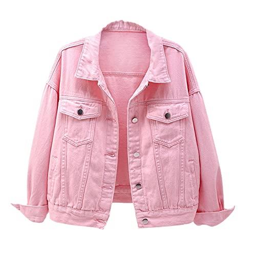 Chaqueta vaquera para mujer primavera y otoño abrigo corto chaqueta de mezclilla rosa