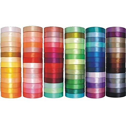 Cinta de Raso Satén 50mm x 32m Seda Colores Mazcla 6mm para Embalaje Decoración de Regalo Cajas Flores Boda Navidad