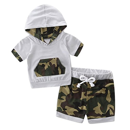 Bekleidung Longra Kleinkind Baby Jungen Sommer mit Kapuze Camouflage Spleiß Trainingsanzug Tops + Shorts Hose Outfits Set Babykleidung (0-24Monate) (85CM 18Monate, Camouflage)