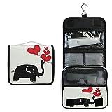 ALARGE - Bolsa de aseo para colgar, diseño abstracto de animales de San Valentín y elefante, bolsa grande de viaje portátil para cosméticos, organizador de maquillaje para mujeres y hombres