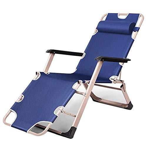 Opklapbare stalen kantelbare ligstoel met kussen Strand Camping Zwembadhangmat,Blue
