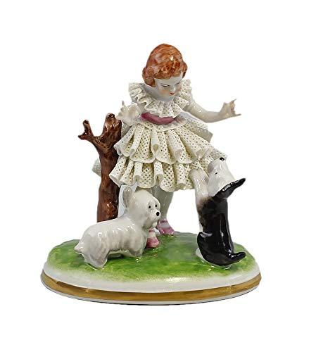 De porcelana de la escultura de puntas de disfraz de bailarina de danza de nia con perros