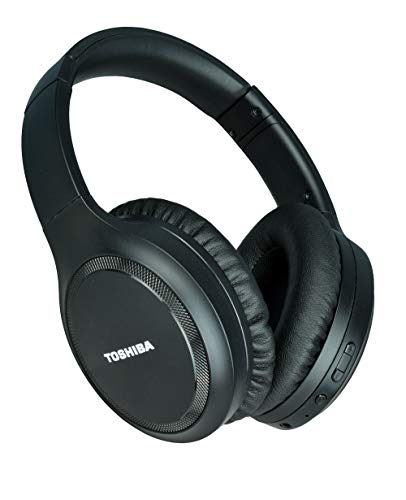 Toshiba Noise Cancelling Bluetooth Headphones | Wireless Over Ear Headphones | Bluetooth Headset with Microphone | 20 Hours of Talk & Music Time | 33 FT Operating Range | RZE-BT1200H(K), Black