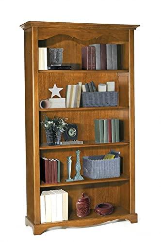 Milani Home s.r.l.s. Libreria Tinta Noce 120 X 40 X 210 per Interno Sala da Pranzo Salotto Cucina Arte Povera Massello