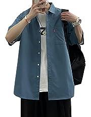 シャツ メンズ 半袖 ポケット 無地 オックスフォードシャツ おしゃれ ファッション 吸汗速乾 夏服 メンズ