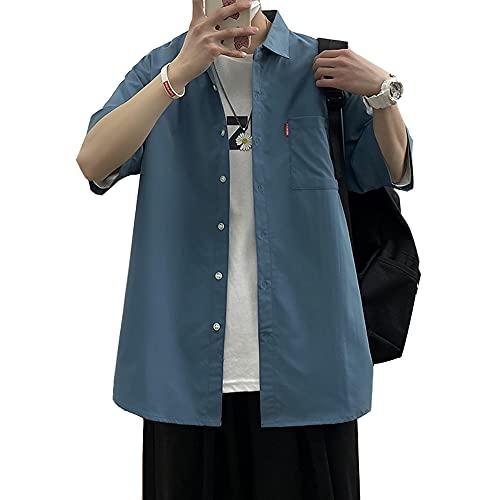 シャツ メンズ 半袖 ポケット 無地 オックスフォードシャツ おしゃれ ファッション 吸汗速乾 夏服 メンズ blue3XL