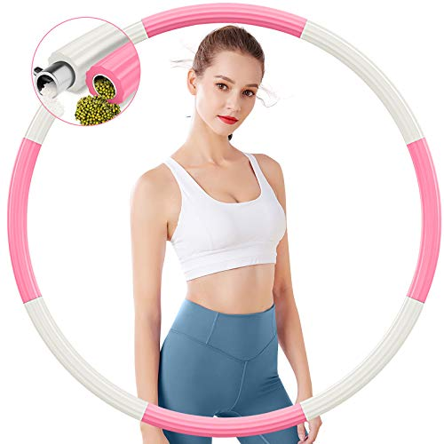 TvvaaFog Hoola Hoop Reifen, Stabiler Edelstahlkern Gewichteter Reifen zur Gewichtsreduktion und Massage, 8 abnehmbare Teile,Fitness Exercise Reifen für Erwachsene & Kinder 1,2 kg (Weiß & Rosa)
