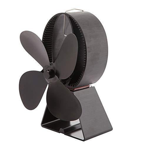 XIONGG Wärmebetriebener Ofenlüfter, 4-Flügeliger, Geräuscharmer, Umweltfreundlicher Lüfter Aus Aluminium Für Kamin Mit Holzfeuer Schwarz