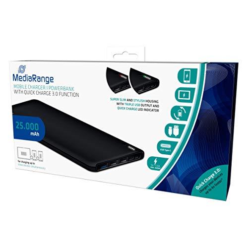 MediaRange Mobiles Ladegerät | Powerbank 25.000 mAh mit drei USB-Ausgängen und Quick Charge Schnellladefunktion