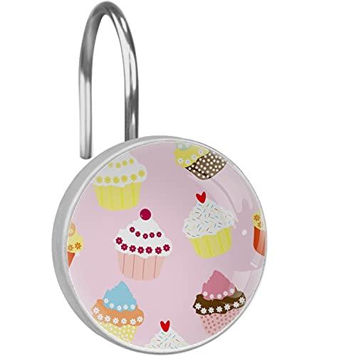 Cupcakes Duschvorhang-Haken, Set mit 12 Stück, Kristallglas und rostfreier Edelstahl, dekorative Duschvorhanghaken Ringe für Badezimmer Duschstange