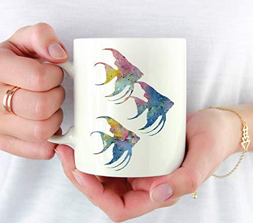 Ol322ay Hengelfish Mok Angelfish Cadeau Angelfish Aquarel Art Mok Angelfish Coffee Mok Unieke aquarium geschenken