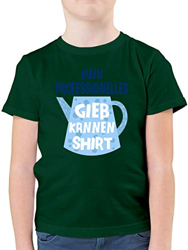 Up to Date Kind - Mein professionelles Gießkannen Shirt - blau - 140 (9/11 Jahre) - Tannengrün - Spruch - F130K - Kinder Tshirts und T-Shirt für Jungen