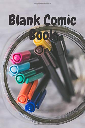 Blank Comic Book (cover with colored markers) - drawing/comic book - draw your art - suitable for kids or adults (bos and girls) - sketch your world in colors - gift idea for lovers of drawing