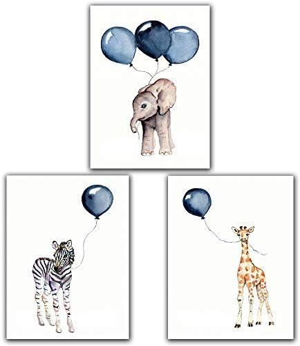 Zebra Elephant Deer Blue Balloon Baby Nursery Wall Art Poster Decor 8 x10 Unframed Set of 3 product image