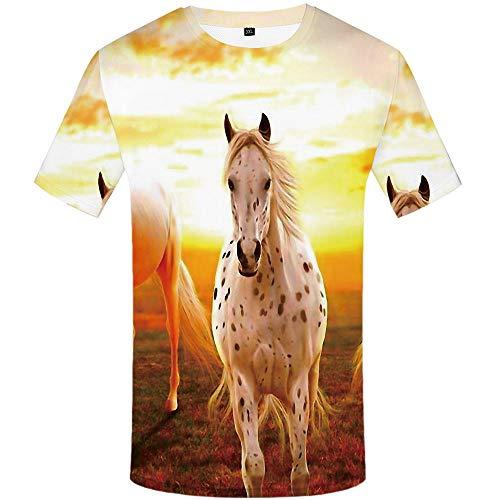 yyqx container Zomer Gepersonaliseerde Casual Korte mouw Wit Gevlekt Paard T-Shirt Man 3DT Shirt Korte mouw Ronde hals Digitale afdrukken Casual Korte mouwen Onder de zon