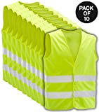 HiVisible 10 Pack Reflective High Visibility Safety Vest - Reflective Adjustable Vest for Men & Women, Great for Work, Cycling, Runner, Crossing Guard, Road, Construction