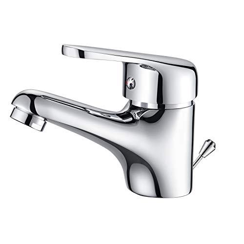 Auralum Wasserfall Wasserhahn Bad mit Zugstange, Einhebel-Waschtischarmatur mit Ablaufgarnitur, Chrom Einhandmischer Waschbecken Armatur Badarmatur Mischbatterie Waschtischmischer für Badezimmer