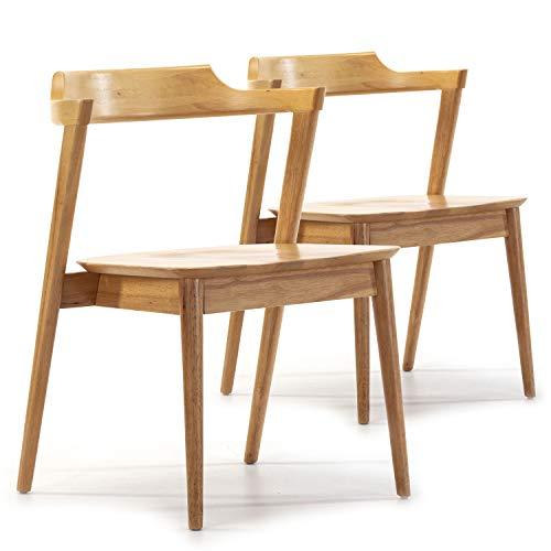 VS Venta-stock Pack 2 sillas Venus Color Roble, Madera Maciza, 58 cm (Largo) 57,5 cm (Profundo) 76 cm (Alto)