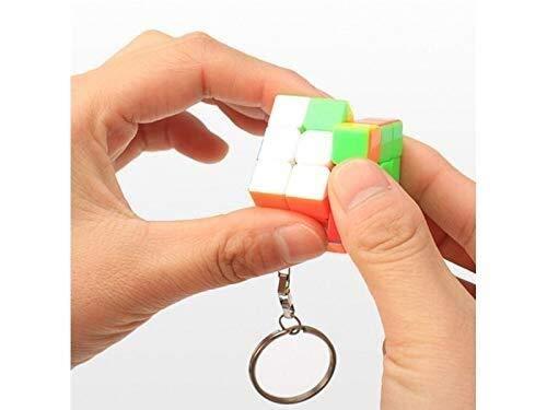 MJY Exquisita personalidad creativa Rubik 'S Llavero Cubo Regalos_Colorido Hermoso Tercer orden Color sólido Cubo Llavero Accesorios Colgante