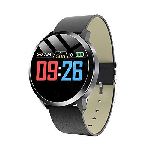 YDL Moda Mujer Smart Watch Impermeable Tarifa Cardíaca Monitor De Presión Arterial SmartWatch Regalo para Mujer Reloj Pulsera (Color : Leather Black Black)