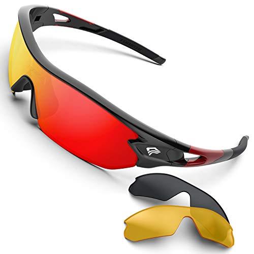 Gafas de sol deportivas polarizadas de Torege, con 5 lentes intercambiables para hombres y mujeres, aptas para ciclismo, carreras, conducción, pesca, golf, béisbol, TR002, Black&Pink&Pink Lens