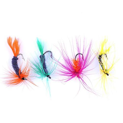 fennirace 96pcs / Caja de señuelos de Pesca al Aire Libre Coloridos Accesorios de Pesca con Mosca Gancho cebos de Pesca Realista