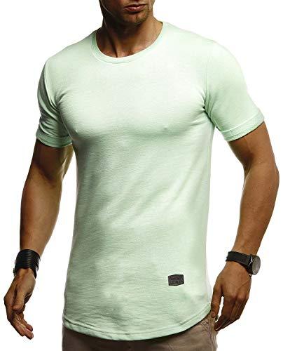 Leif Nelson Herren Sommer T-Shirt Rundhals Ausschnitt Slim Fit Baumwolle-Anteil Cooles Basic Männer T-Shirt Crew Neck Jungen Kurzarmshirt O-Neck Kurzarm Lang LN8311 Mint Medium
