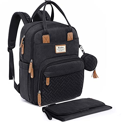 Diaper Bag Backpack, RUVALINO Neutral All-in-One Baby Bags for Boy Girl, Multifunction Large Travel Backpack with Portable Changing Pad, Stroller Straps, Pacifier Case and Insulated Pockets, Black