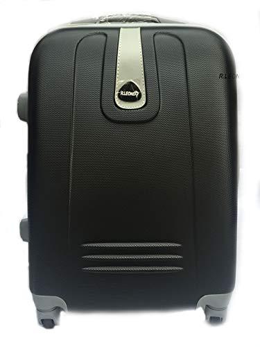 R.Leone Valigia Trolley Bagaglio a mano Rigido Ultraleggero in ABS 4 Ruote Autonome 188 (Nero)