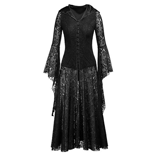 Find Discount Women Halloween Party Lace Yarn Solid Zipper Long Sleeves Long Length Dress