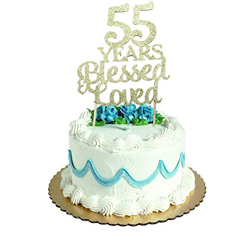 55 Years Blessed & Loved Cake Topper for 55th Birthday, Wedding Anniversary Party Decorations Gold Glitter