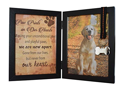 """Pawprints Remembered Pet Memorial 5""""X7"""" Picture Frame for Dog or Cat with Ribbon and Tag - Features A Folding Photo Frame and Sympathy Poem - Loss of Pet Gift"""
