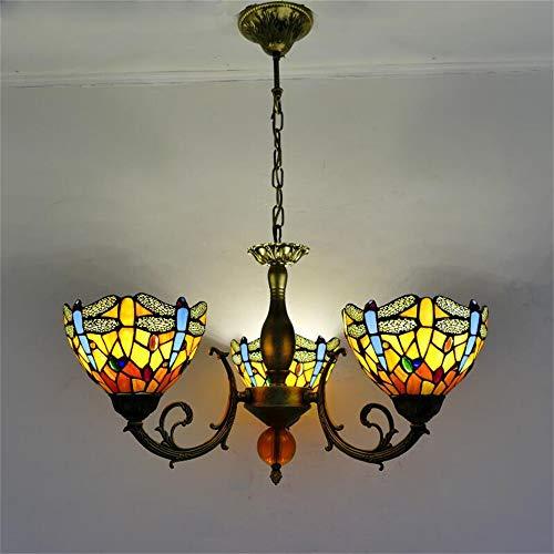 Pendelleuchte Retro Libelle Buntglas 3 Flamme Hängeleuchte Tiffany-Art-Eisen-Kunst-Kronleuchter Einstellbare Höhe E27 Hängelampe Für Wohnzimmer Schlafzimmer,D