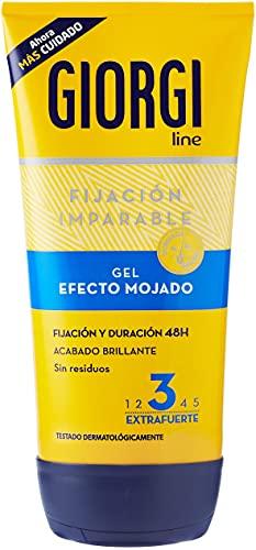 Giorgi Line - Gomina Efecto Mojado, Fijación y Duración 48h sin Residuos, Acabado Brillante, Fijación 3 Extrafuerte - 150 ml