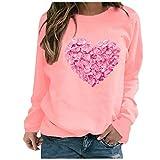 YANFANG Sudadera sin Capucha para Mujer, Moda Mujer Manga Larga Amor con Estampado de corazón de Color sólido Sweatershirt Blusa Suelta Tops, Black,L