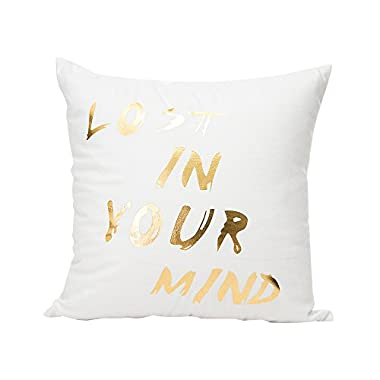 Gold Foil Printing Pillow Case,FimKaul Happy Valentine Sofa Waist Throw Cushion Cover Home Decor  (C)