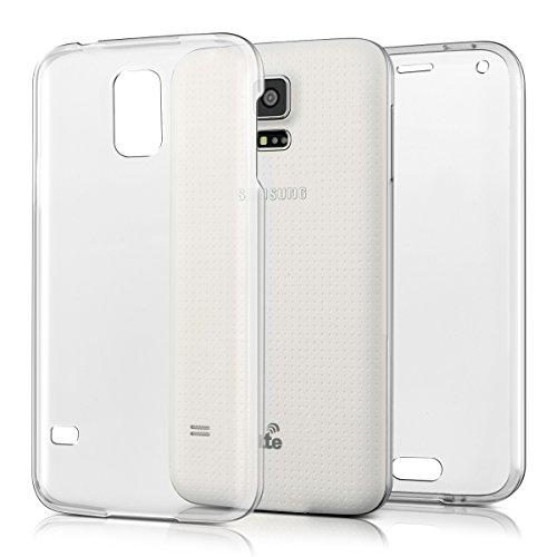 kwmobile Funda Compatible con Samsung Galaxy S5 / S5 Neo - Carcasa Completa 360 para móvil - Cover Doble - Transparente