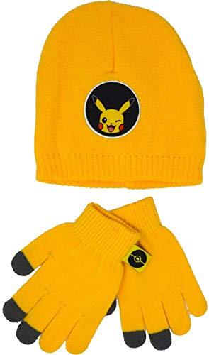 Pokemon Mütze- und Handschuh-Set, Pikachu, Kinder, Jungen, Mädchen, Winter, ab 4–8 Jahre