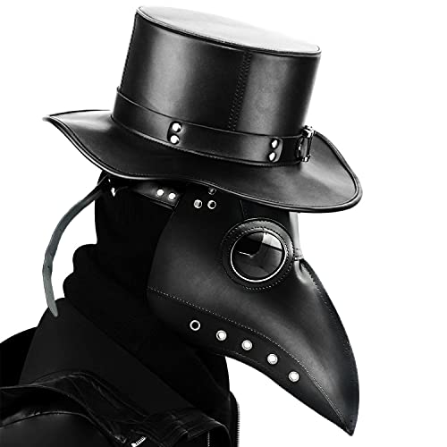 RICOO Plague Doctor Bird Mask Leather Long Nose Beak Gothic Cosplay Steampunk Props for Halloween Costume Mask