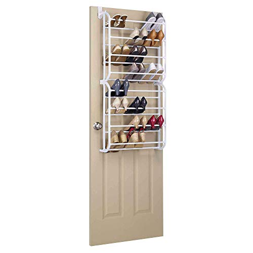 BonChoice 8 Tier Over-The-Door Shoe Rack for 24 Pairs Shoes Wall Hanging Shelf Closet Organizer Storage Stand for Hallway Entryway Household White