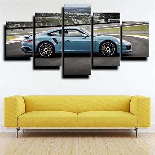 Cuadro sobre Impresión Lienzo 5 Piezas-Mural Moderno Coche Deportivo Azul Porschcar 911 5 Piezas,No Tejido Lienzo Impresión Dormitorios Decor El Hogar Modular Poster Mural-Listo para Colgar