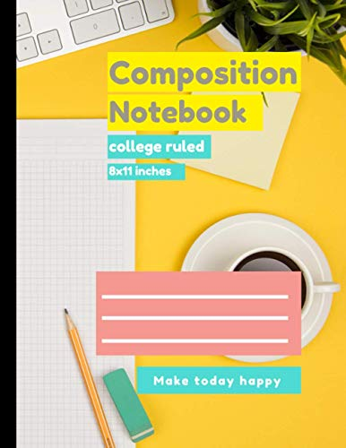 Composition college ruled notebook Yellow table , computer, keyboard and notepaper cover, college ruled notebook 100 pages – Large (8.5 x 11 inches)