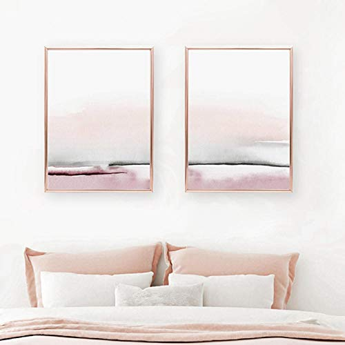 FGJF Bedroom Decor Abstract Painting Wall Art Canvas Poster and Print Blush Pink and Gray Art Painting Wall Pictures Home Decoration-50X70Cmx2 Frameless