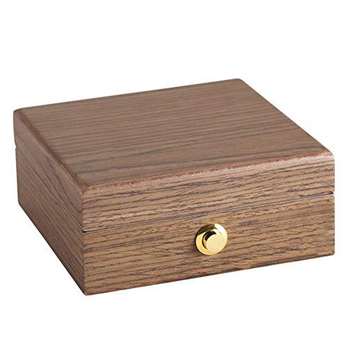 WUHUAROU Caja de joyería pequeña de Madera portátil de Lujo Organizador de Viaje Caja de Almacenamiento de Collar de Anillo de joyería de Terciopelo de Madera (Color : Brown)