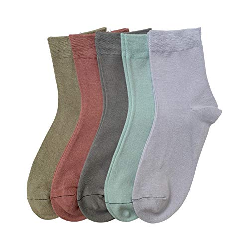 Women Casual Socks Bamboo Thin sock Ankle Breathable Odor Resistant Sock 5 Pairs (Assorted2, Large)