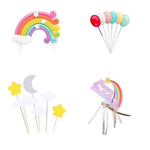 Colorful Rainbow Cake Topper,Include Rainbow Cloud Moon Star Balloon Shape Cupcake Topper Picks for Birthday Wedding Party Cake Decoration